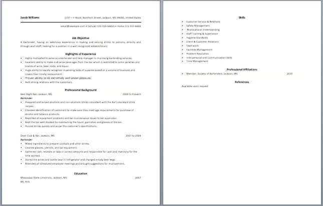10 Bartending Resume Best Template - Writing Resume Sample ...
