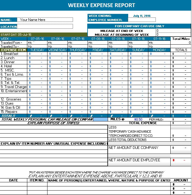MS Excel Weekly Expense Report | Office Templates Online