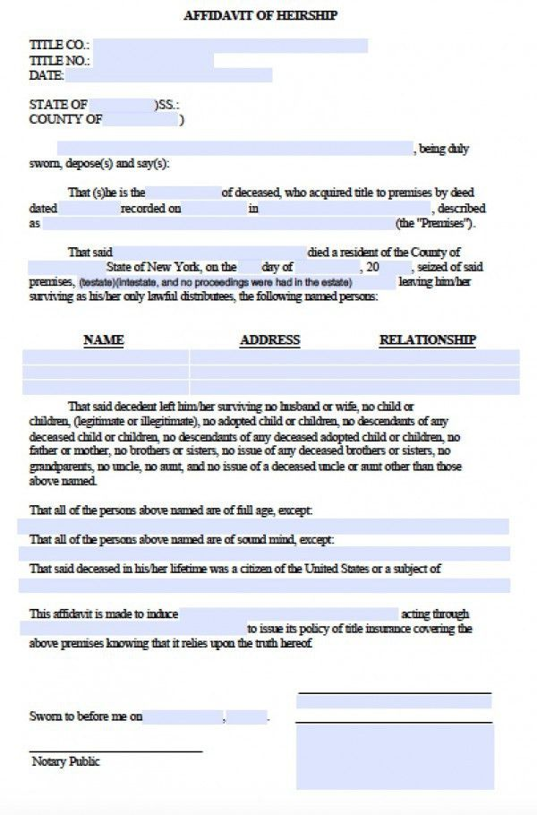 Free Legal Forms Affidavit Of Heirship | Professional resumes ...