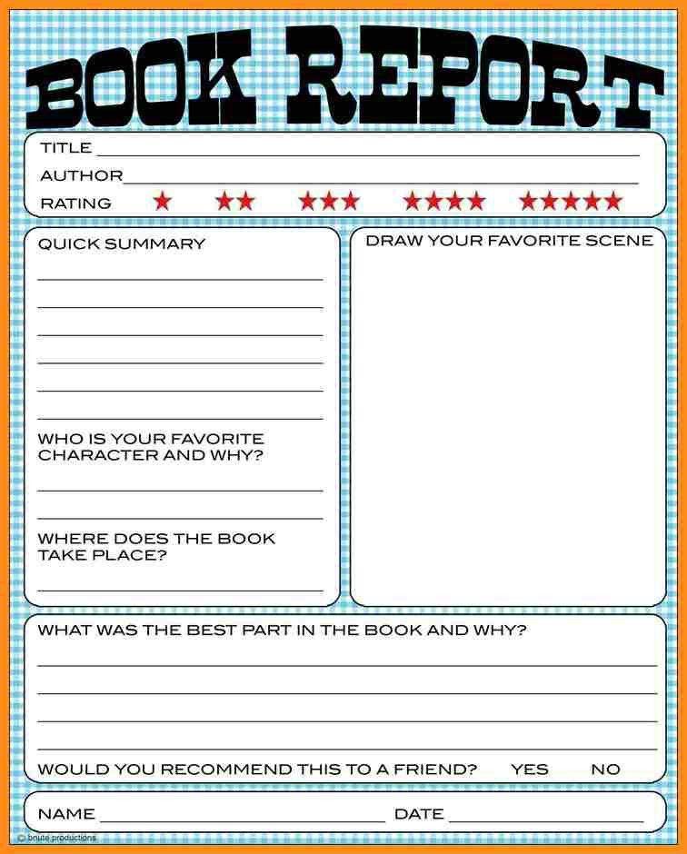 Summary Report Template. Book-Report-Template-5Th-Grade ...