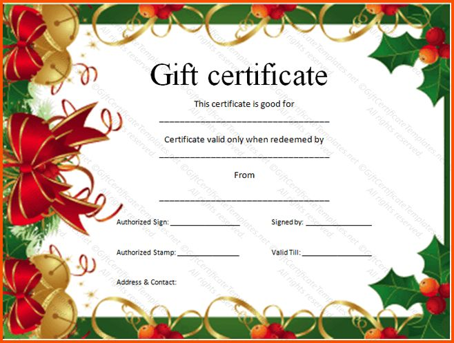 4 christmas gift certificate template free download | Survey ...