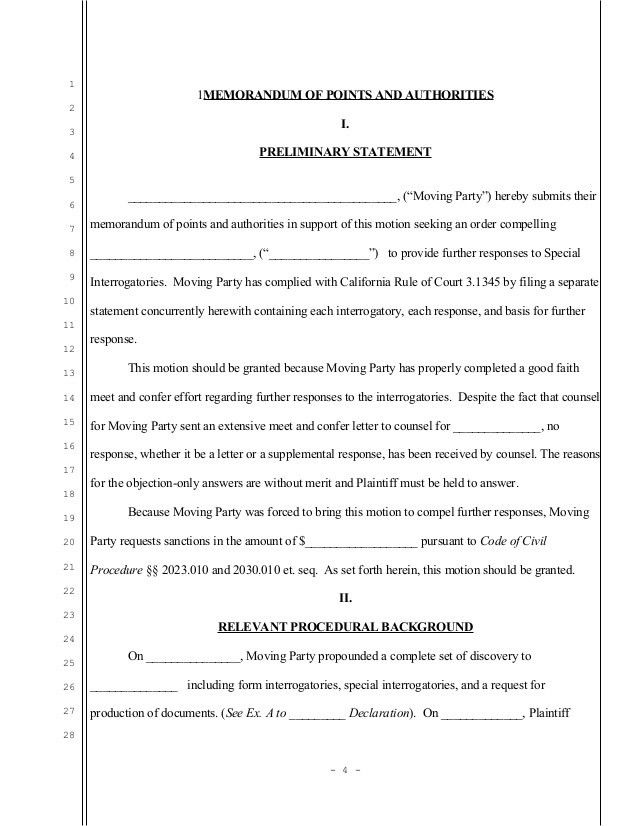 Sample California motion to compel further responses to special inter…