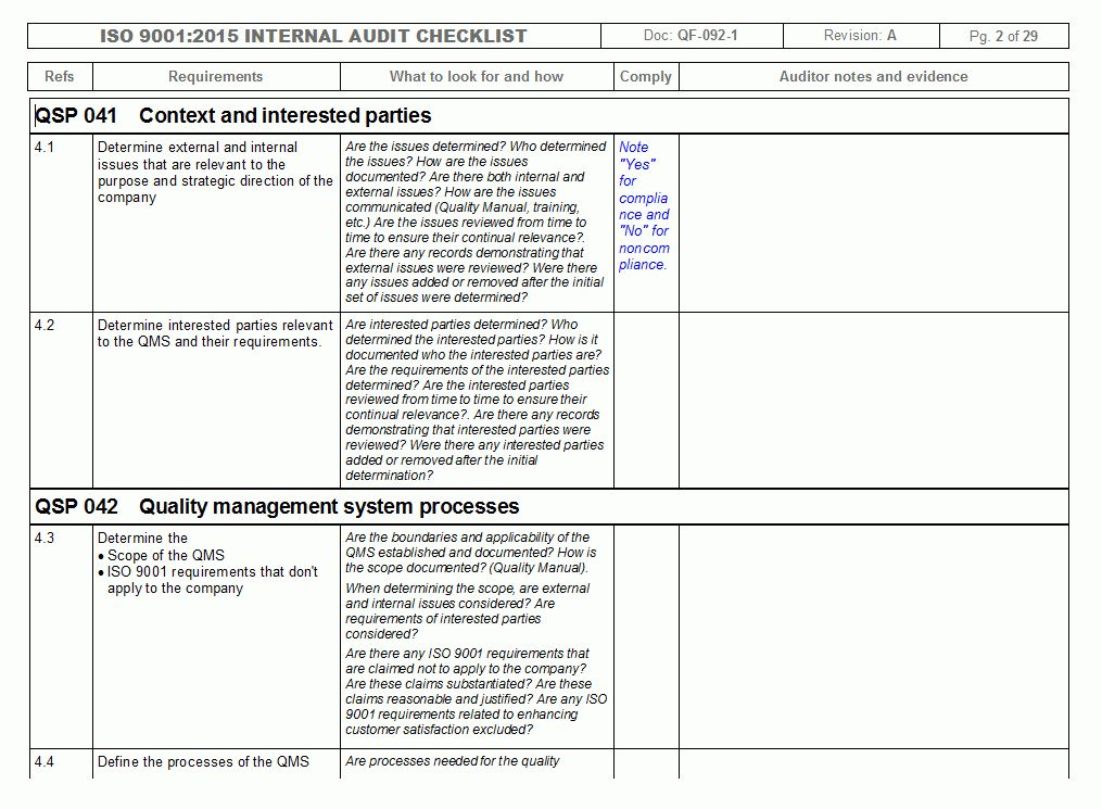 IMSXpress ISO 9001 Internal Audit Checklist - Quality Management ...