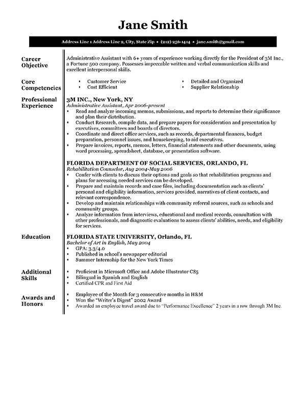 Free Resume Samples to Print Resume Template BW Executive ...