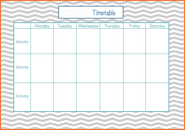 weekly timetable template word - Budget Template Letter