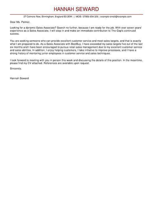 Sales Associate CV Example for Customer Service | LiveCareer