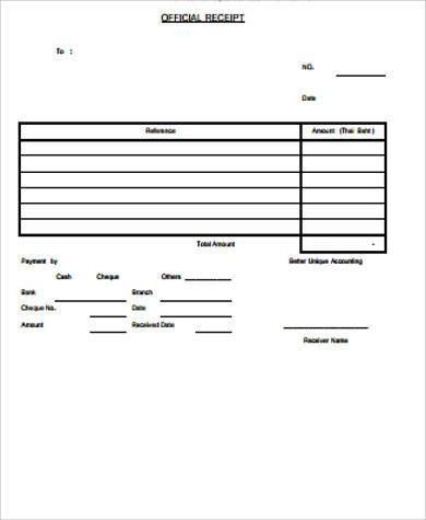 Official Receipt Sample - 8+ Examples in Word, PDF