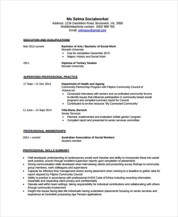 Social Worker Resume Template. Resume Templates 2017 Social Worker ...
