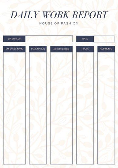 Peach and Purple Elegant Daily Work Report - Templates by Canva