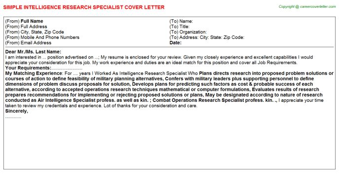 Intelligence Research Specialist Cover Letter