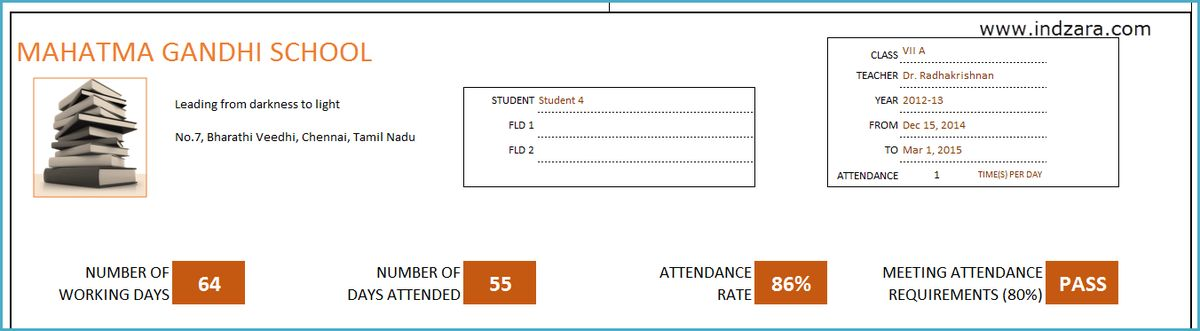 Student Attendance Register Excel Template