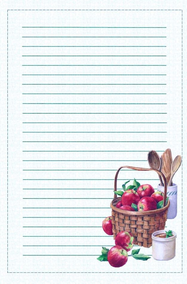 Free Printable Apples Lined Stationary (Stationery)