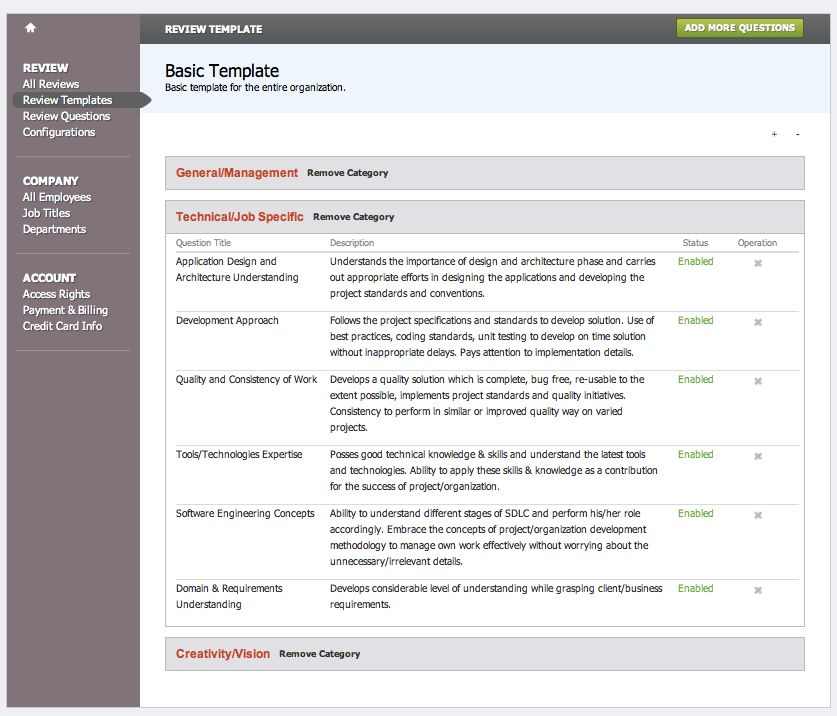 Create Multiple Performance Review Templates