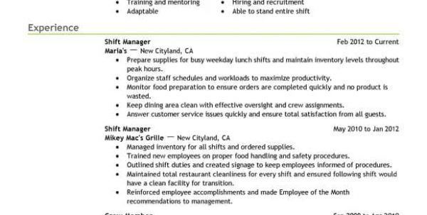 fast food cook resumes