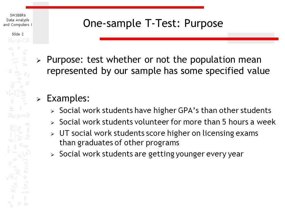 One-sample T-Test of a Population Mean - ppt download