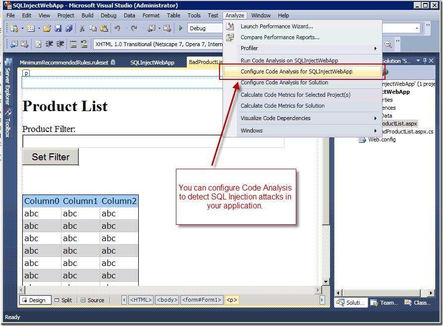 Preventing SQL Injection Attacks with Visual Studio Team System ...