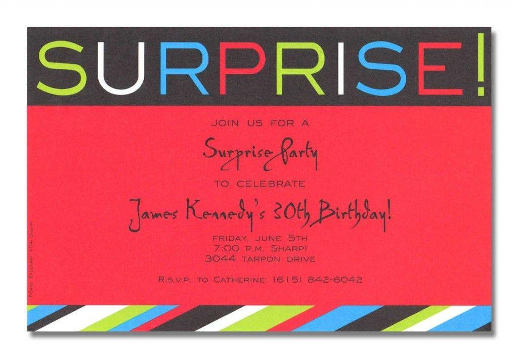 Surprise Birthday Party Invitations Wording Ideas – Bagvania FREE ...