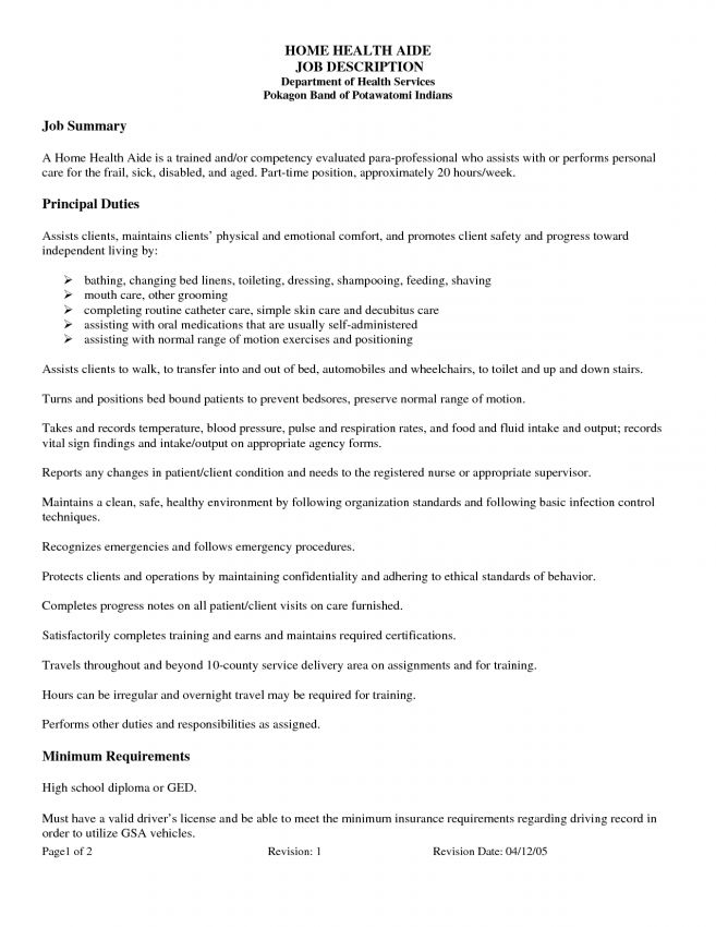 6 Home Health Aide Job Description Job Duties home health aide job ...