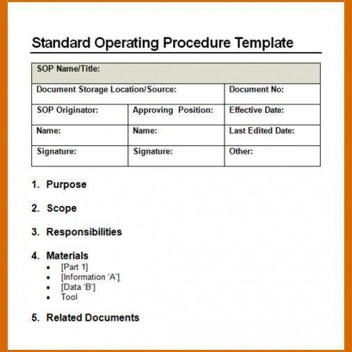 Free Sop Template Sop Template Standard Operating Procedure