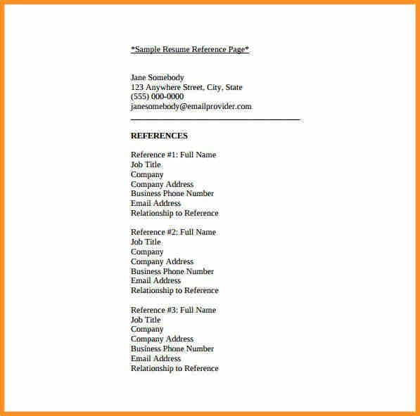 Resume Reference Template. Cover Letter Resume Sample References ...