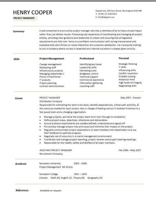 Download Sample Project Manager Resume | haadyaooverbayresort.com