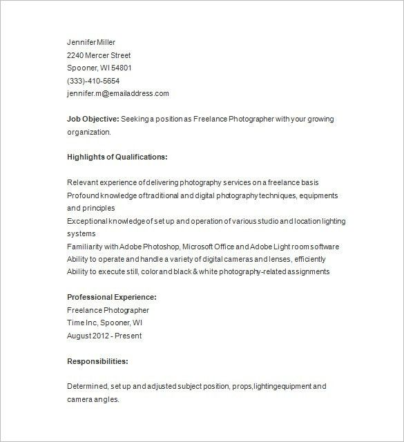 Photographer Resume Template U2013 17+ Free Samples, Examples, Format .