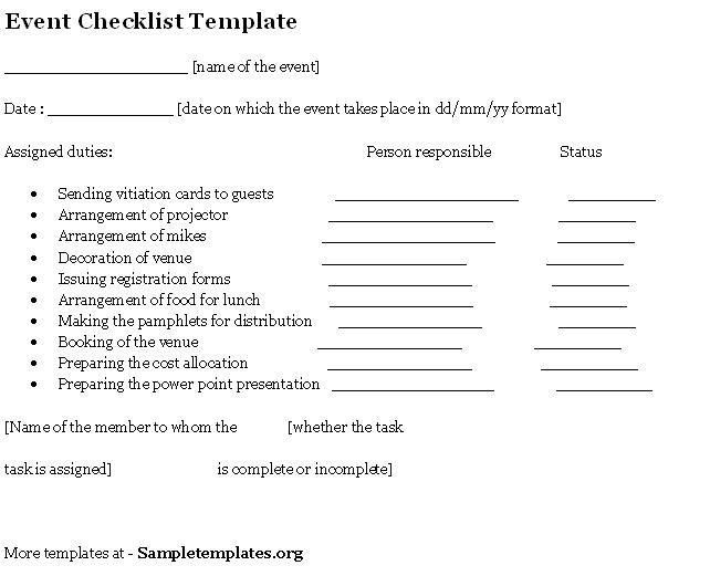 Event Template for Checklist, Template of Event Checklist | Sample ...