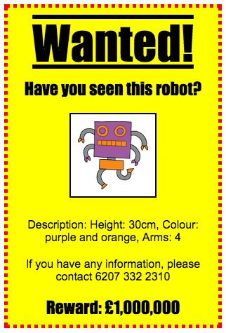 Wanted! – Code Club