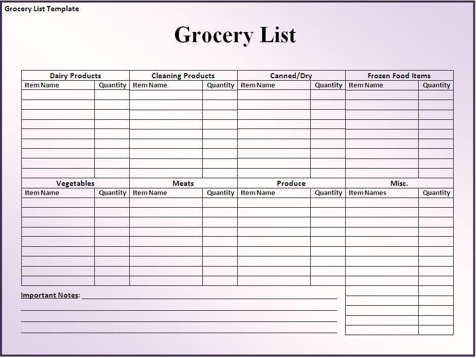 printable blank grocery list