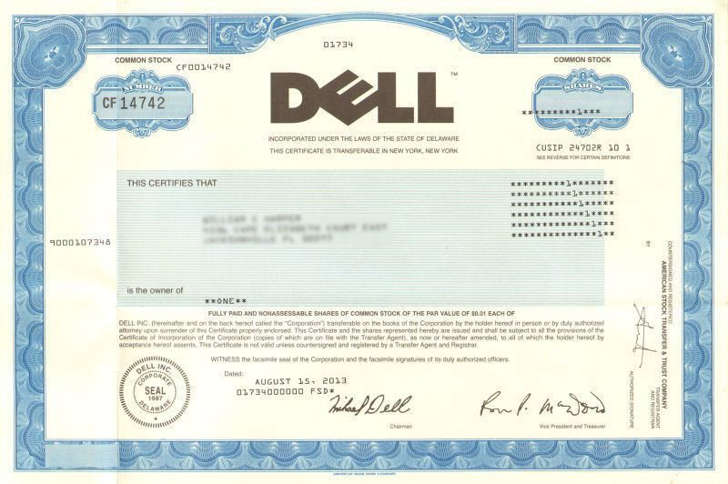Dude! You're getting a DELL stock certificate! collectible Michael ...