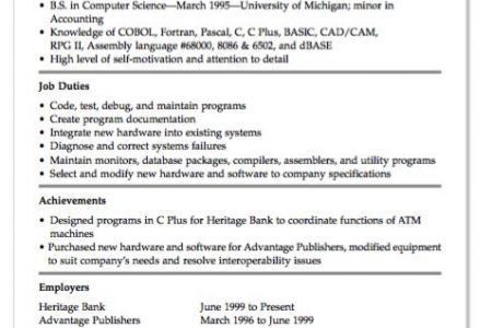 System Programmer Resume - Reentrycorps