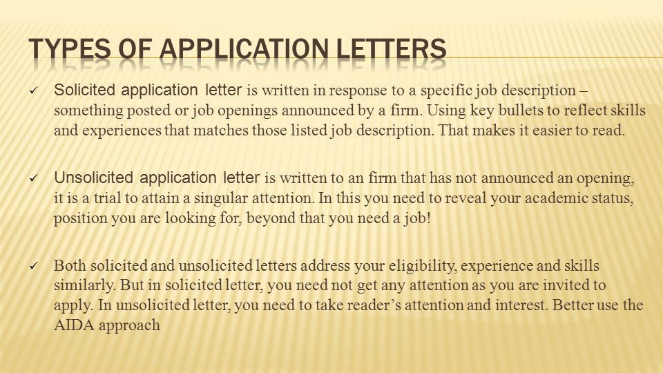 Prepared by: vasanth sunder MSE 608B. APPLICATION LETTER AND TYPES ...
