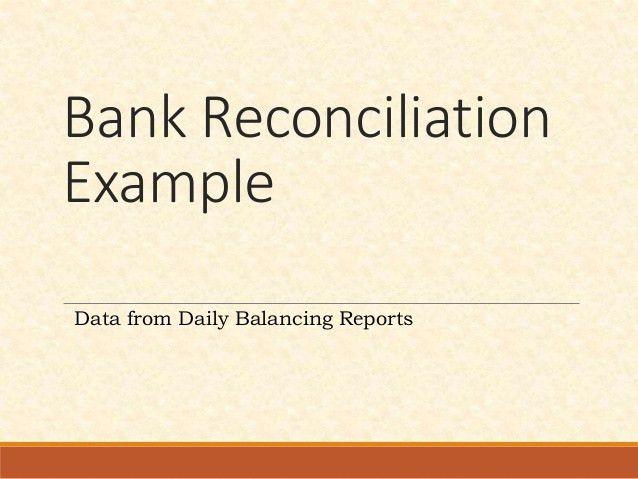 Bank Reconciliation example