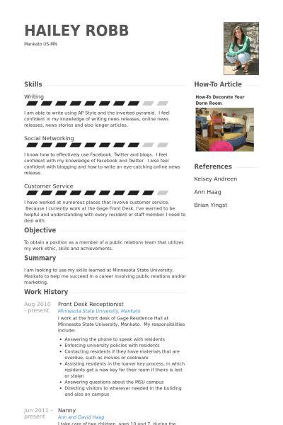 Rezeption Rezeption CV Beispiel - VisualCV Lebenslauf Muster Datenbank