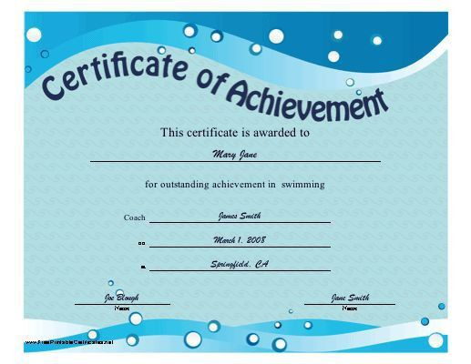 This printable certificate of achievement features blue waves and ...