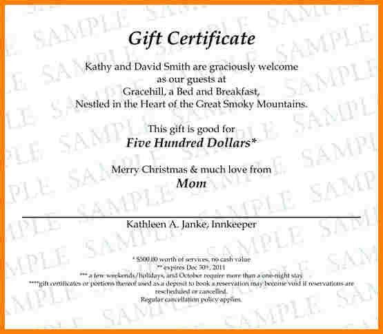 7+ gift certificate wording examples | sample of invoice