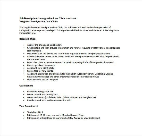 Legal Assistant Job Description Template - 11+ Free Word, PDF ...