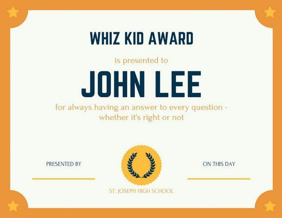 Orange Whiz Kid Fun Certificate - Templates by Canva