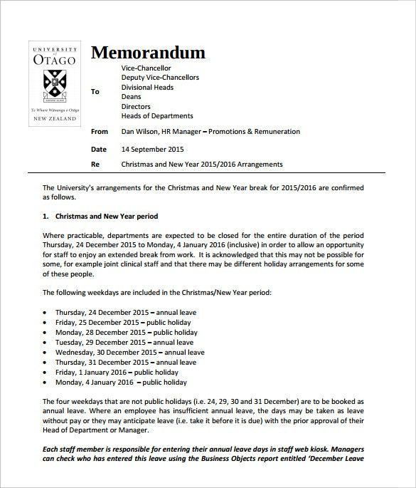 Sample Holiday Memo - 7+ Documents in PDF