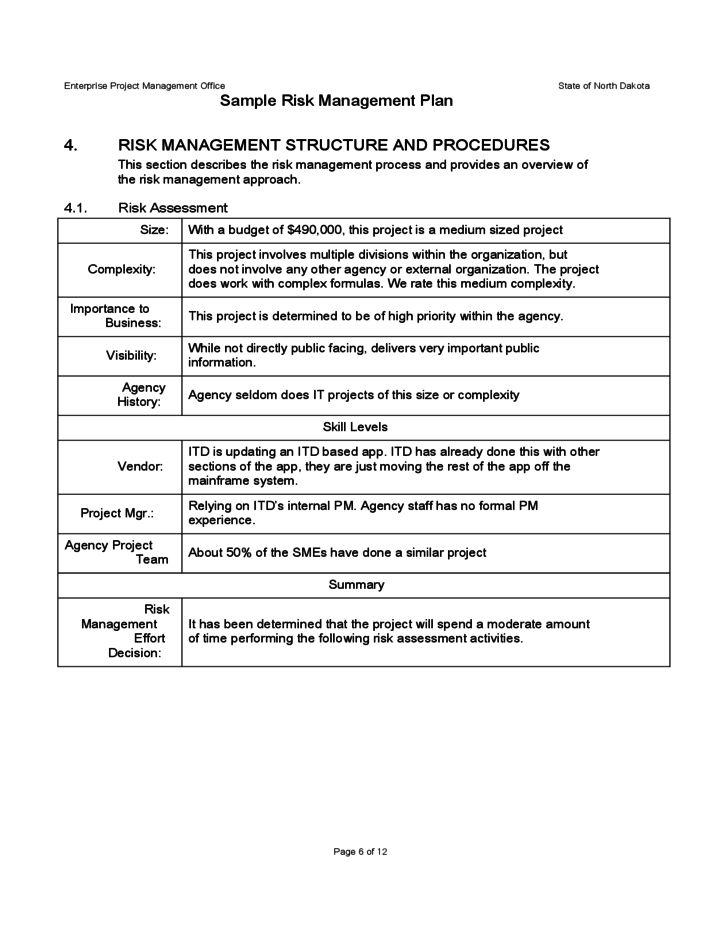 Sample Risk Management Plan Free Download
