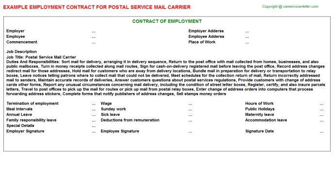 Postal Service Mail Carrier Job Title Docs