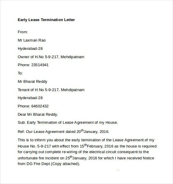 Early Lease Termination Letters - 9+ Download Free Documents in ...
