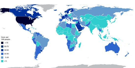 Estimated number of guns per capita by country - Wikipedia