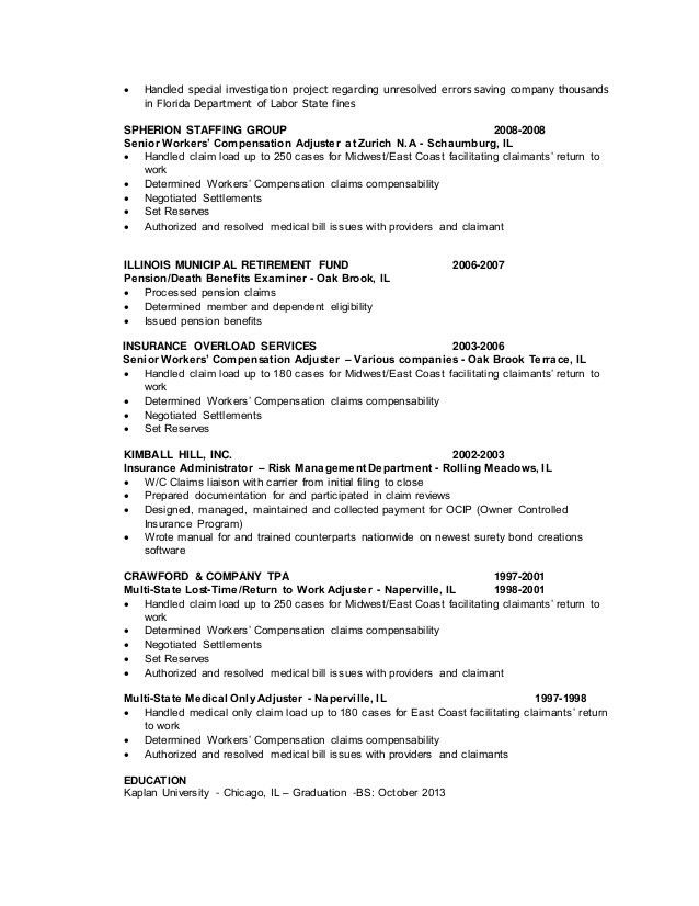 Claims Resume