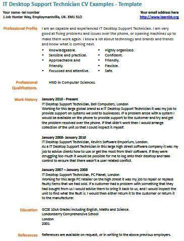 IT Desktop Support Technician CV Example - Learnist.org
