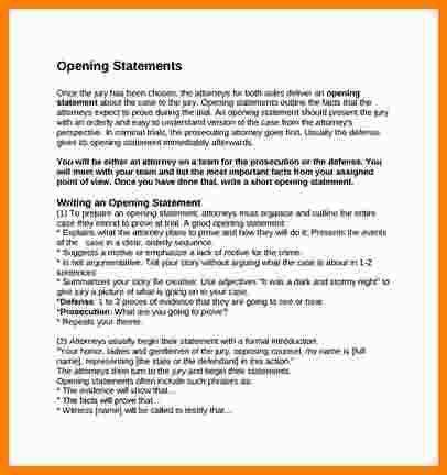 8+ opening statement example | Statement Information