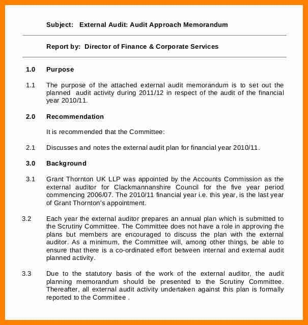 5+ audit memorandum example   it cover letter