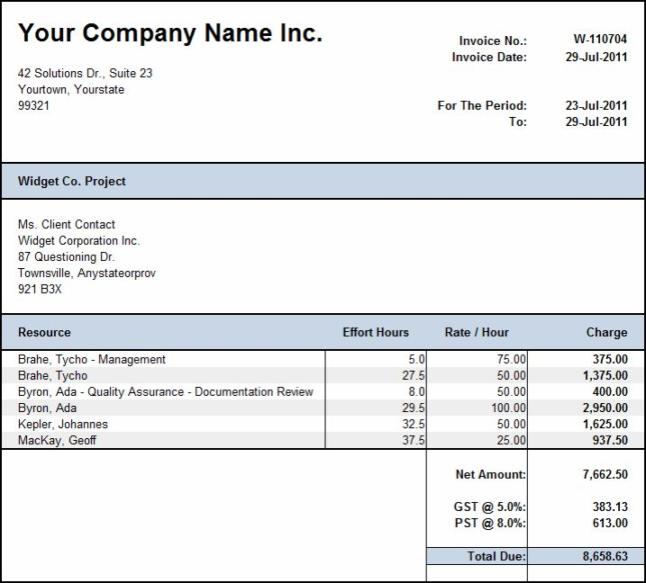 Weekly Invoice Template Free Weekly Timesheet Template Billing ...