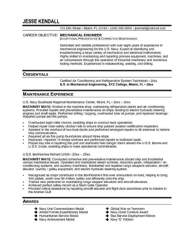 Mechanical Maintenance Engineer Sample Resume 19 Resume ...