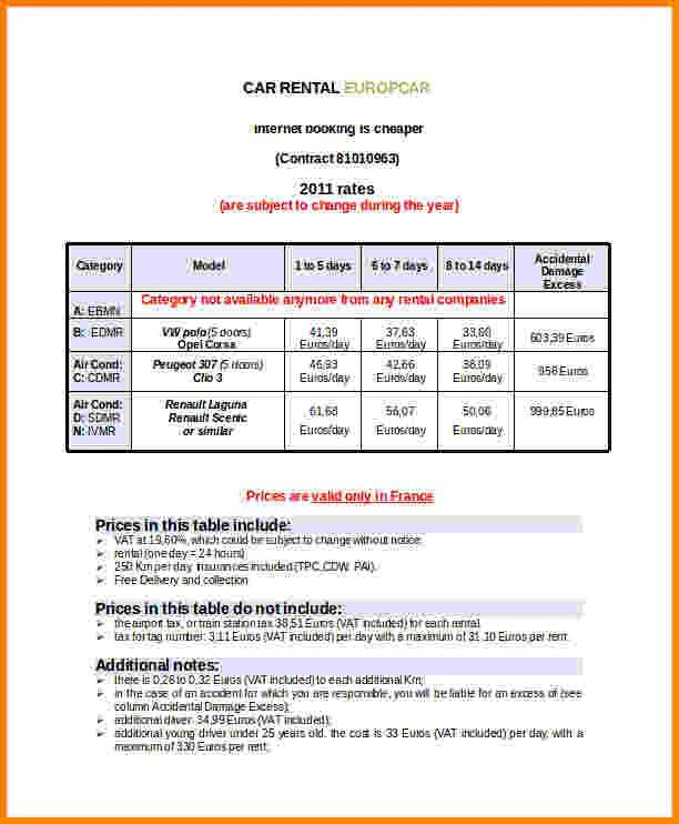 5+ rental car invoice template | Short paid invoice